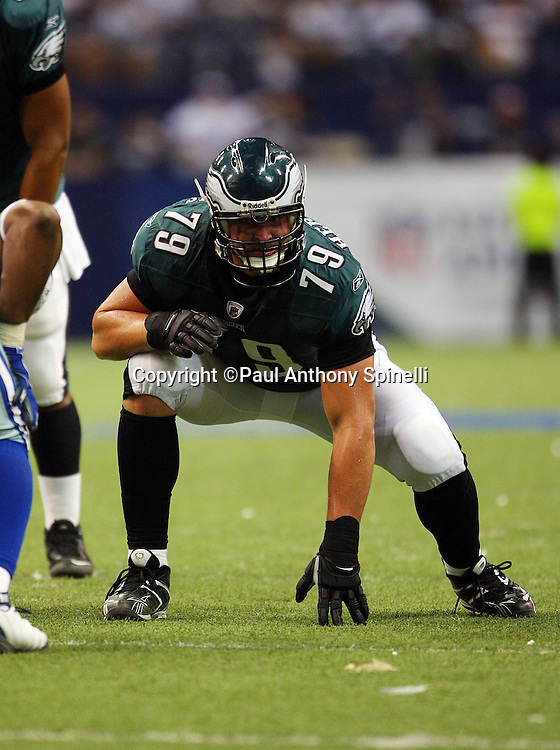 IRVING, TX - SEPTEMBER 15:  Todd Herremans #79 of the Philadelphia Eagles gets set for the snap during the game against the Dallas Cowboys at Texas Stadium on September 15, 2008 in Irving, Texas. The Cowboys defeated the Eagles 41-37. ©Paul Anthony Spinelli *** Local Caption *** Todd Herremans