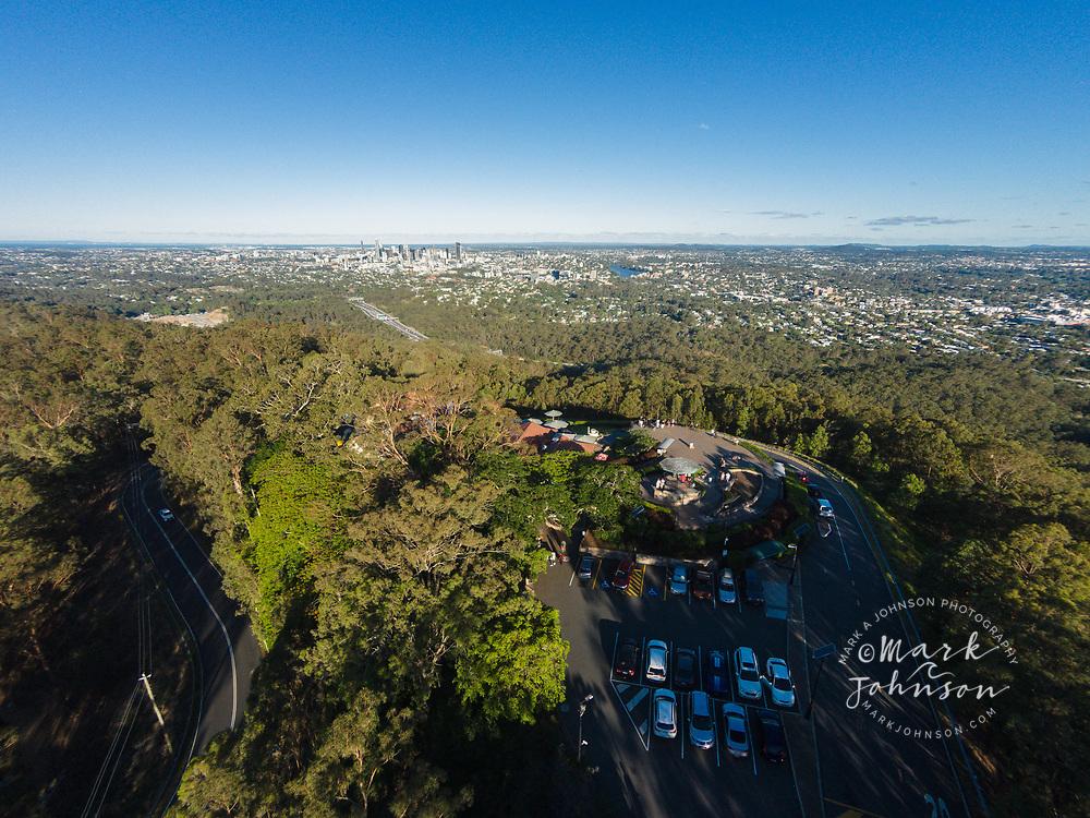 Aerial photograph of the Brisbane City viewpoint at Mt Cootha, Brisbane, Queensland, Australia