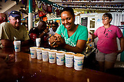 "Making ""Painkiller"" rum punch drinks at the Soggy Dollar Bar, Jost Van Dyke."