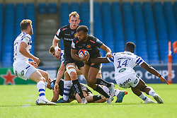 Tom O'Flaherty is tackled by Levi Davis - Ryan Hiscott/JMP - 09/09/2018 - RUGBY - Sandy Park - Exeter, England - Exeter Braves v Bath United, Premiership Rugby Shield