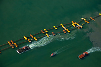 Aerial view of dredging in the Port of Oakland, California