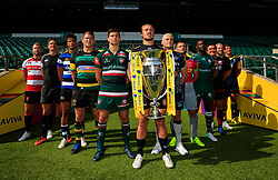 Team captains (from left to right) Gloucester Rugby's Ross Moriarty, Newcastle Falcons' Toby Flood, Bath Rugby's Anthony Watson, Northampton Saints' Dylan Hartley, Leicester Tigers' Ben Youngs, Exeter Chiefs' Jack Nowell, Sale Sharks' James O'Connor, Harlequins' Danny Care, London Irish's Topsy Ojo, Saracens' Jamie George, Wasps' James Haskell and Worcester Warriors' Doncha O'Callaghan during the Aviva Premiership season launch at Twickenham Stadium, London.