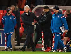 STOKE-ON-TRENT, ENGLAND - Wednesday, November 29, 2017: Stoke City Manager Mark Hughes reacts after the FA Premier League match between Stoke City and Liverpool at the Bet365 Stadium. (Pic by Peter Powell/Propaganda)