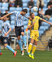 MARK BEEVERS MILLWALL, AARON MARTIN COVENTRY CITY HOLDS OF MILLWALLS STEVE MORRISON, Coventry City v Millwall Sky Bet League One, Ricoh Arena, Saturday 16th April 2016<br /> Score 2-1
