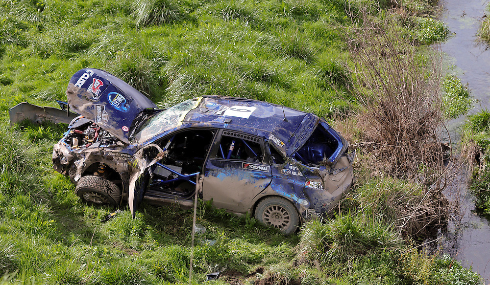 Japanese driver Hiroshi Asakura's Subaru after  crashing on day two of the International Rally of Whangarei, Northland,  New Zealand. Sunday May 19, 2013. Credit:SNPA / Malcolm Pullman