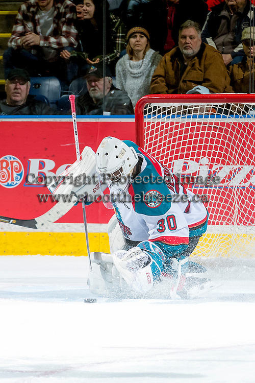 KELOWNA, CANADA - DECEMBER 27: Michael Herringer #30 of the Kelowna Rockets makes a save against the Kamloops Blazers on December 27, 2016 at Prospera Place in Kelowna, British Columbia, Canada.  (Photo by Marissa Baecker/Shoot the Breeze)  *** Local Caption ***