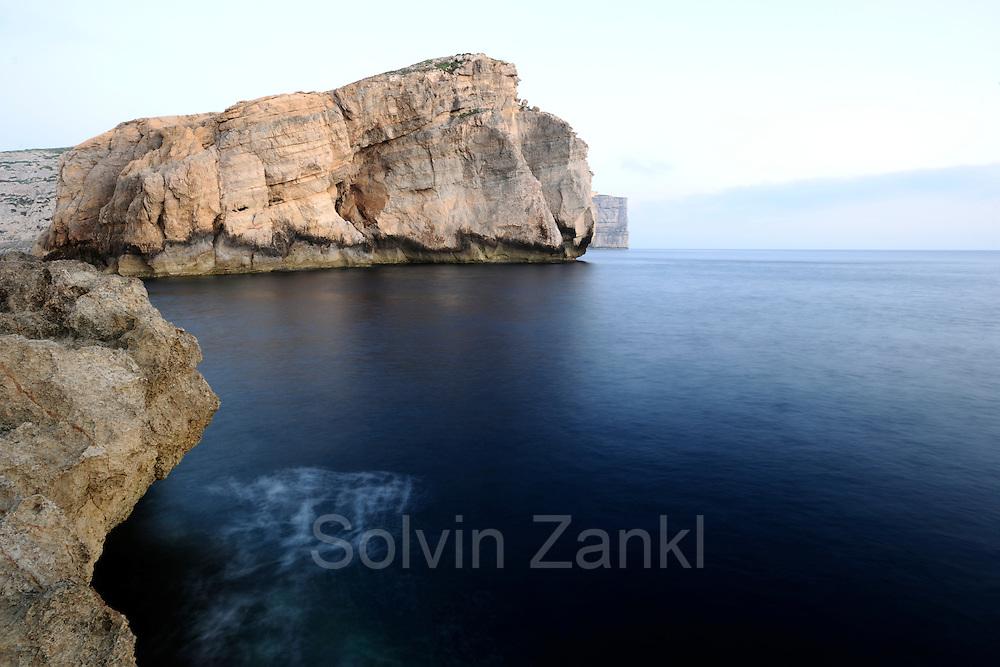 Fungus Rock, coastline at Dwejra, Gozo