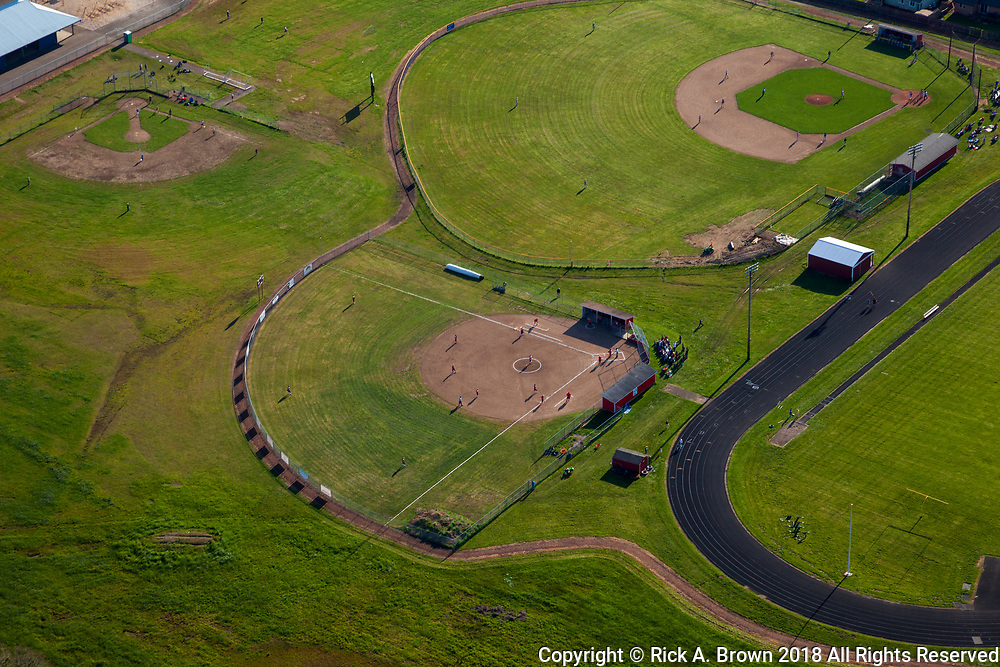 Baseball diamonds and track in Creswell from the air.