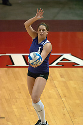 12 November 2006: Stephanie May serves. .In the final regular season home game at ISU, the Northern Iowa Panthers defeated the Illinois State Redbirds 3 game to 1. The match took place at Redbird Arena on the campus of Illinois State University in Normal Illinois.<br />