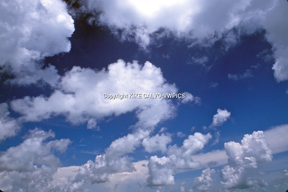 Clouds over the Caribbean.Bahamas.© Kike Calvo - V&W .sky blue white cotton heaven high metherology weather climate change water rain condensation planet earth