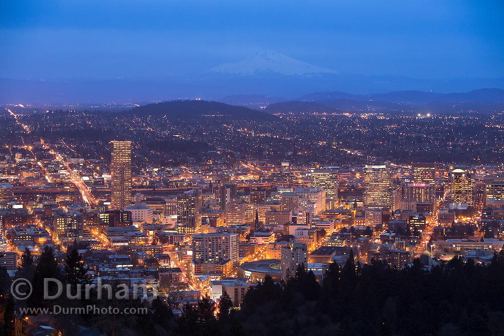 Downtown Portland, Oregon with Mount Hood on the horizon. Winter 2013.