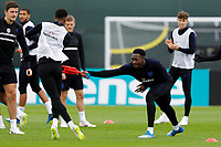 SAINT PETERSBURG, RUSSIA - JULY 10: Danny Welbeck (R) of England national team plays with toy rooster during an Englang national team training session ahead of the 2018 FIFA World Cup Russia Semi Final match against Croatia at Stadium Spartak Zelenogorsk on July 10, 2018 in Saint Petersburg, Russia. (MB Media)