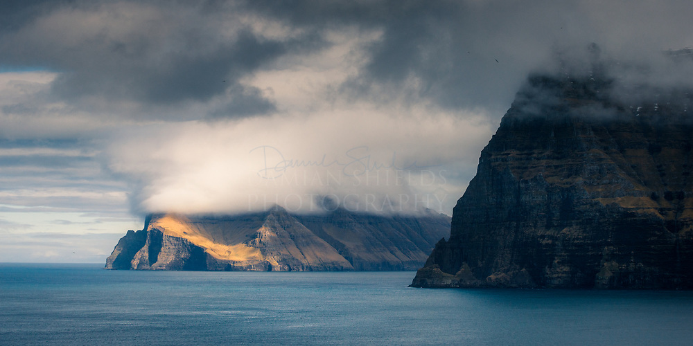 Viðoy and Kunoy from Kallur, Faroe Islands.