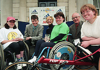 1998 Women's Mini Marathon sponsored by the Evening Herald, 7/6/98..<br /> Pictured at the E.H. Women's Mini Marathon Winners Rostrum at St. Stephen's Green yesterday were from left:<br /> Wheelchair Winner Patrice Dockery (Beaumont), Gerry Dunne (Chairman South Dublin Athletic Club), Lucy Moloney (Adidas), Colette O'Reilly (Longford, 2nd), Pat Courtney (Group Sports Editor Independent Newspapers), and Emer Patten (Drumcondra, 3rd).<br /> Pic: C O'R<br /> (Part of the Independent Newspapers Ireland/NLI Collection).