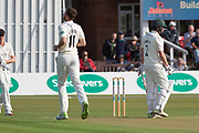 WICKET - Richard Gleeson has Paul Horton caught behind the Specsavers County Champ Div 2 match between Leicestershire County Cricket Club and Lancashire County Cricket Club at the Fischer County Ground, Grace Road, Leicester, United Kingdom on 23 September 2019.