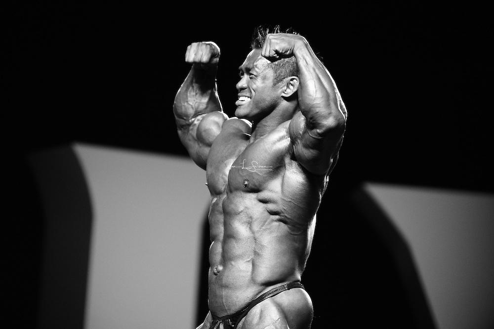 Hidetada Yamagishi competing at the 2010 Mr. Olympia finals in Las Vegas.
