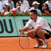 5 June 2009: Robin Soderling of Sweden rests during the Men's Singles Semi Final match on day thirteen of the French Open at Roland Garros in Paris, France.