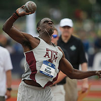Texas A&M's Lindon Victor throws the shot put during the men's decathlon on the first day of the NCAA college track and field championships in Eugene, Ore. on Wednesday, June 7, 2016 (AP Photo/Timothy J. Gonzalez)