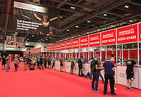 The Prudential RideLondon Cycling Show at the Excel Centre. The show is part of the world&rsquo;s greatest festival of cycling, involving 95,000+ cyclists &ndash; from Olympic champions to a free family fun ride - riding in five events over closed roads in London and Surrey over the weekend of 1st and 2nd August 2015. <br /> <br /> Photo: Thomas Lovelock for Prudential RideLondon<br /> <br /> See www.PrudentialRideLondon.co.uk for more.<br /> <br /> For further information: Penny Dain 07799 170433<br /> pennyd@ridelondon.co.uk