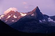 Rocky Mountains at sunrise. Glacier National Park, Montana