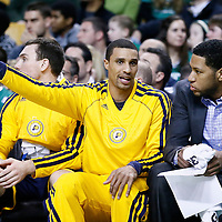 04 January 2013: Indiana Pacers point guard George Hill (3) talks to Indiana Pacers small forward Danny Granger (33)  during the Boston Celtics 94-75 victory over the Indiana Pacers at the TD Garden, Boston, Massachusetts, USA.