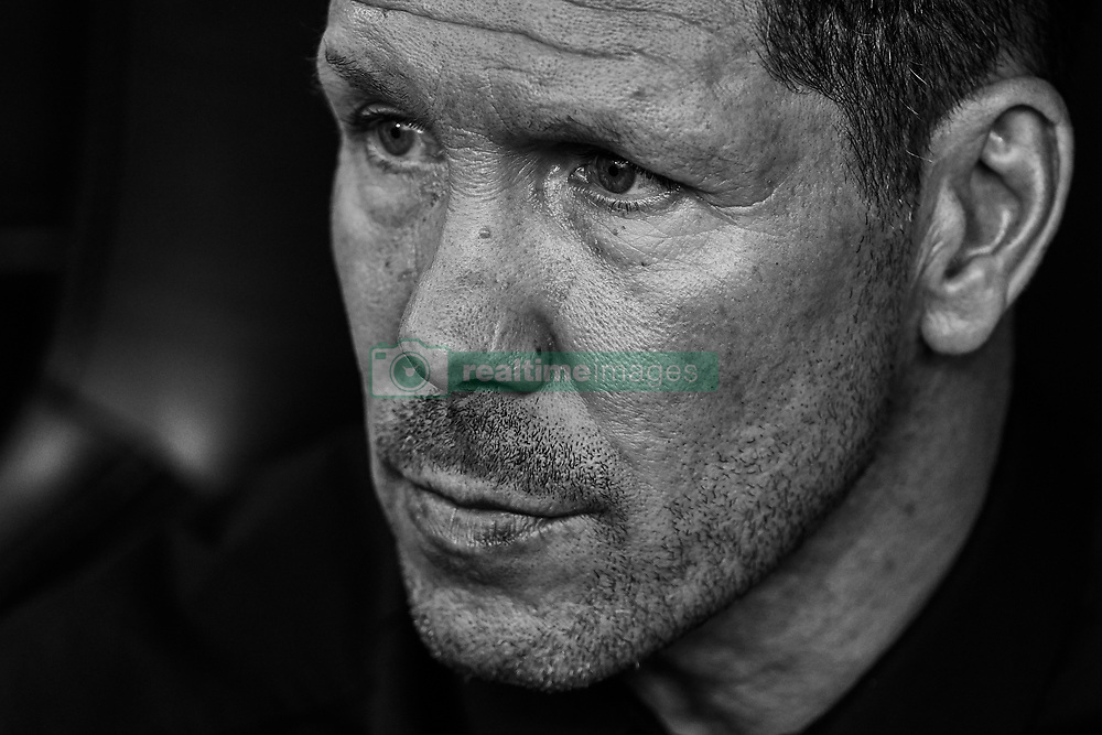 August 20, 2018 - Valencia, Valencia, Spain - (EDITORS NOTE: the image has been converted to black and white) Diego Pablo Simeone head coach of Atletico de Madrid looks on prior to the La Liga match between Valencia CF and Club Atletico de Madrid at Mestalla on August 20, 2018 in Valencia, Spain  (Credit Image: © David Aliaga/NurPhoto via ZUMA Press)