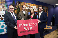 Repro free. PJ Kavanagh, Bank Of Ireland,(BOI), John Breslin, NUIG and Innovating West,  with David Cunningham, Counterweight and Innovating West, at the Sponsors launch of Innovating West which takes place in the Lifecourse Institute at NUIG .<br />  Innovating West, a one-day summit in Galway that will bring together innovators, creators, entrepreneurs and leaders to discuss how great teams and innovation ecosystems can be built in the West of Ireland. Photo:Andrew Downes