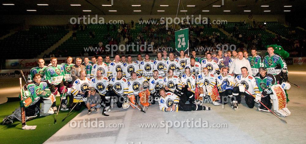 Team photo of both teams in Tomaz Vnuk's exhibition game between team HDD Tilia Olimpija and team 24 Ever on August 28, in Ljubljana, Slovenia. (Photo by Matic Klansek Velej / Sportida)
