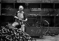 Shackel fitter upper at Barzilla Hingley Chainmaking workshop  in the Black Country Birmingham West Midlands  UK 1970's