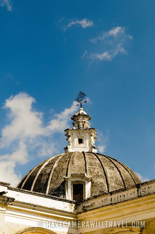 The domed roof of Iglesia de San Francisco, a Spanish colonial church in Antigua, Guatemala.