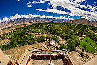 View from the Stok Monastery, Leh Valley, Ladakh, Jammu and Kashmir State, India.