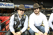 January 6, 2013- New York, New York- (L-R) Professional Bull Riders Markus Mariluch and Harve Stewart backstage at Day 3 Finals of the 2013 Monster Invitational Professional Bull Riding Compettion presented by Built Ford Tough held at Madison Square Garden on Jaunuary 6, 2013 in New York City. The PBR is the world's premier bull riding organization. 2013 marks the 20th anniversary of PBR competition. More than 100 million viewers annually watch primetime PBR programming on networks around the world and nearly two million fans attend Built Ford Tough Series and Touring Pro Division events each year. (Terrence Jennings)