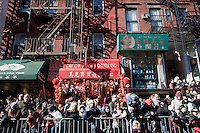 1 February, 2009. New York, NY. People wait for the  beginning of the 10th Annual Chinatow Lunar New Year Parade. New York Senator Kirsten Gillibrand is here on Mott street in Chinatown for the 10th Annual Chinatown Lunar New Year Parade to give a speech in Mandarin.  Sen. Gillibrand learned the language after she spent a semester in China.<br /> <br /> ©2009 Gianni Cipriano for The New York Times<br /> cell. +1 646 465 2168 (USA)<br /> cell. +1 328 567 7923 (Italy)<br /> gianni@giannicipriano.com<br /> www.giannicipriano.com
