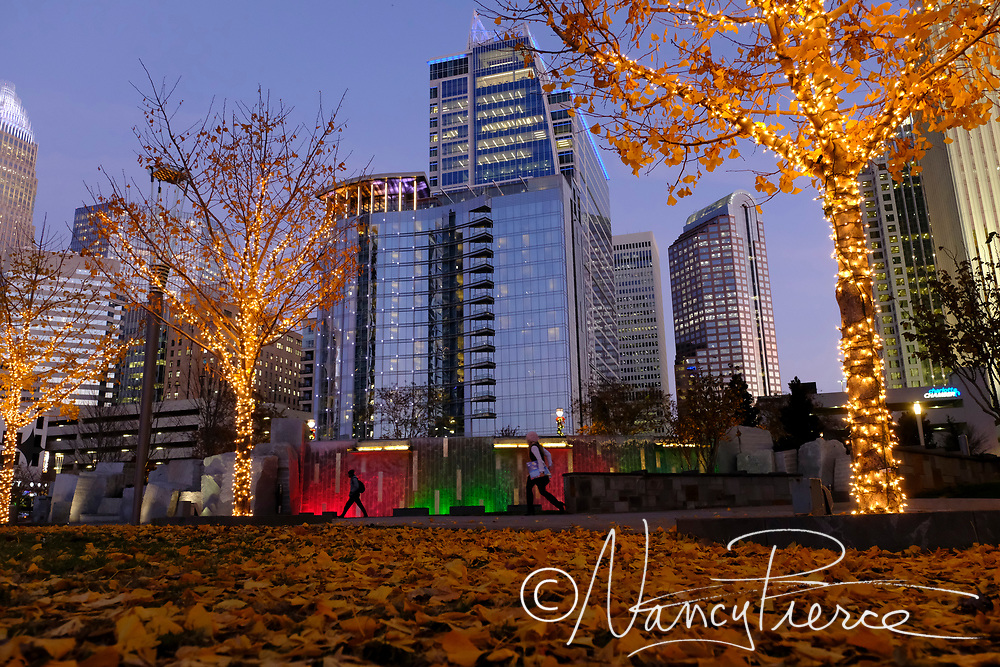 Holiday decorations at Romare Bearden Park featuring Charlotte's newest skyscraper, opened less than a month, 300 South Tryon.