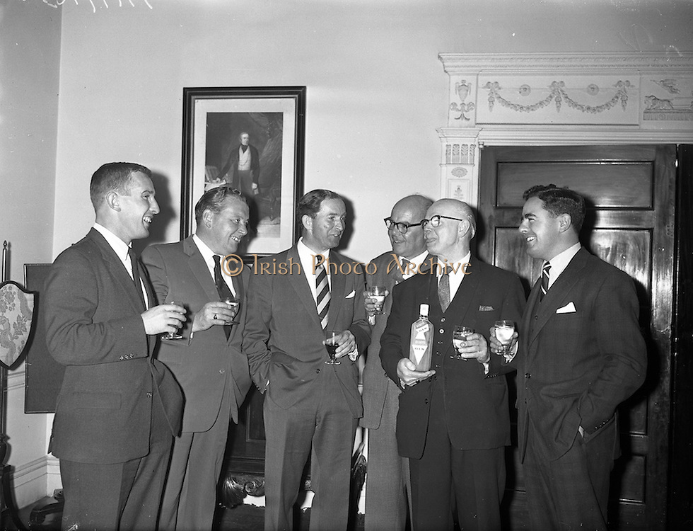 28/09/1960<br /> 09/28/1960<br /> 28 September 1960<br /> Luncheon at Gilbey's Wine Merchants, Nos. 46-49 O'Connell St., Dublin.<br /> (l-r); Mr. Cairnduff, Secretary Accountant; Mr. G. Ormrod, Vice President; Mr. W. Campbell, Managing Director; Mr. W.L. Webster, Secretary; Mr J.W. Carroll, President and Mr. D. Dand, Sales Executive.