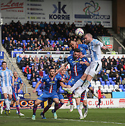 Dundee's James McPake outjups the Inverness Caledonian Thistle defence to head for goal - Inverness v Dundee  - SPFL Premiership at the Caledonian Stadium<br /> <br />  - © David Young - www.davidyoungphoto.co.uk - email: davidyoungphoto@gmail.com