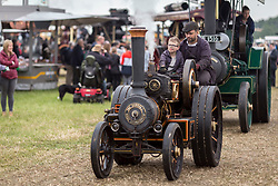 © Licensed to London News Pictures. 29/05/17  ALTRINCHAM ,GREATER MANCHESTER,UK.  <br /> <br /> Ashley Hall Traction Engine Rally today (Monday 29th May 2017). The rally , hosted at Ashley Hall for the third year running , took place over the bank holiday weekend from Saturday 27th May until Sunday 29th May.<br /> John Macdonald Smith and son Hugo Macdonald Smith, nine. <br /> <br />   <br /> Photo credit: CHRIS BULL/LNP