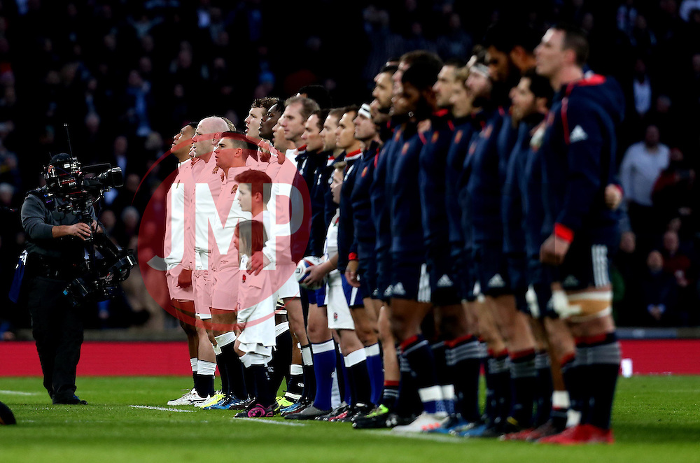 England and France line up for the national anthems - Mandatory by-line: Robbie Stephenson/JMP - 04/02/2017 - RUGBY - Twickenham - London, England - England v France - RBS Six Nations