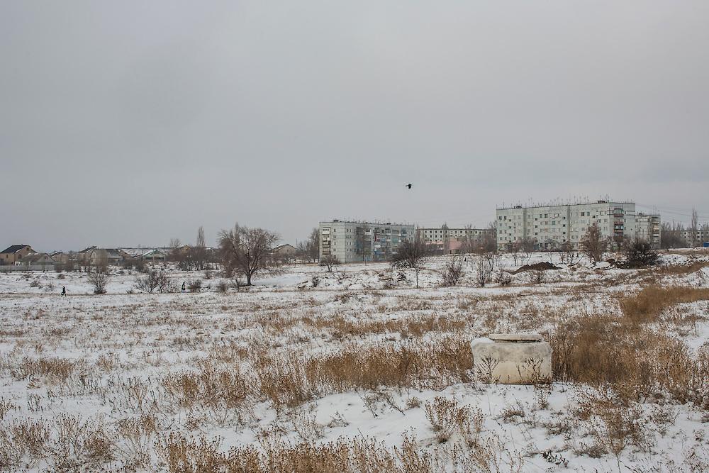 HIRNE, UKRAINE - DECEMBER 8, 2014: Apartment blocks along the road between Donetsk and Luhansk in Hirne, Ukraine. CREDIT: Brendan Hoffman for The New York Times
