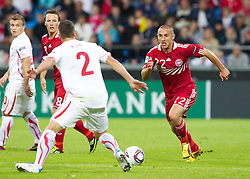 AALBORG, DENMARK - Saturday, June 11, 2011: Denmark's Bashkim Kadrii (Odense BK) in action against Switzerland during the UEFA Under-21 Championship Denmark 2011 Group A match at the Aalborg Stadion. (Photo by Vegard Grott/Propaganda)