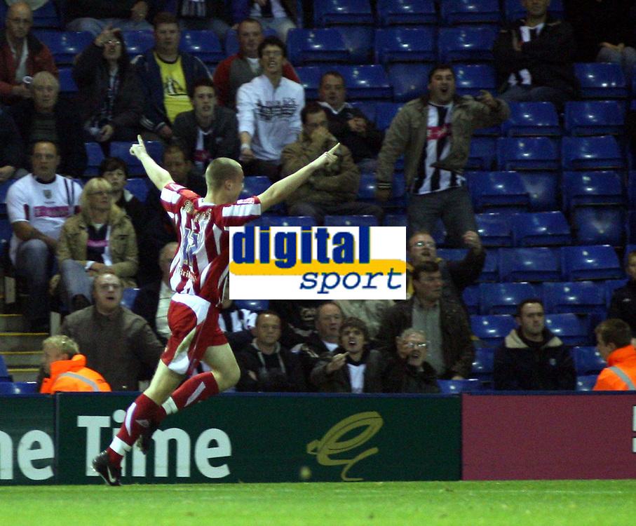 Photo: Mark Stephenson.<br /> West Bromwich Albion v Stoke City. Coca Cola Championship. 03/10/2007.Stoke's Ryan Shawcross celebrates his goal for 1-0