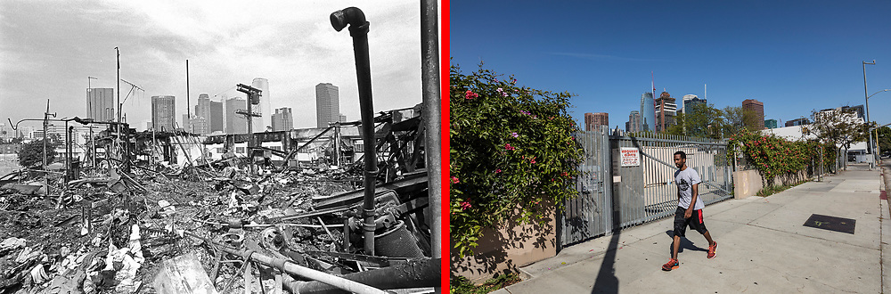 Before and after photos of Olympic Blvd at Blaine Street.<br /> <br /> 25 before and after LA92 photo project.