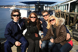 David Rodman, xy, his brother Marcel Rodman and Marcel`s girlfriend Veronika Potocnik infront of whale watching boat, during IIHF WC 2008 in Halifax,  on May 07, 2008, sea at Halifax, Nova Scotia, Canada. (Photo by Vid Ponikvar / Sportal Images)