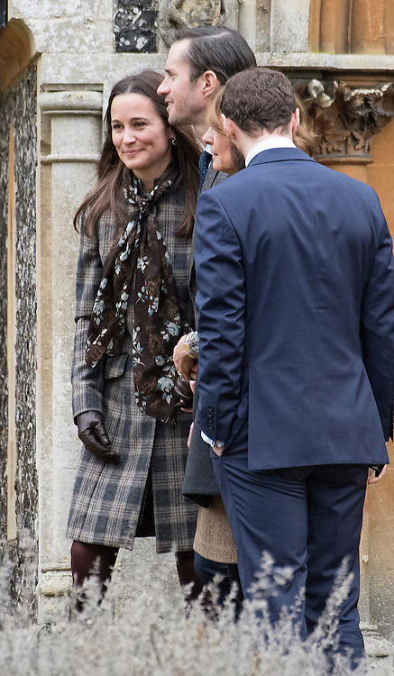25.12.2016; Englefield, UK: PIPPA MIDDLETON AND FIANCE JAMES MATHEWS <br /> attend Christmas Church Service at St Mark&rsquo;s Church, Englefield.<br /> The joined The Duke and Duchess of Cambridge and children Prince George and Princess Charlotte for the service.<br /> Pippa and James are due to marry at the same church in 2017.<br /> While the rest of the royals attended church service at Sandringham.<br /> Mandatory Photo Credit: &copy;Francis Dias/NEWSPIX INTERNATIONAL<br /> <br /> IMMEDIATE CONFIRMATION OF USAGE REQUIRED:<br /> Newspix International, 31 Chinnery Hill, Bishop's Stortford, ENGLAND CM23 3PS<br /> Tel:+441279 324672  ; Fax: +441279656877<br /> Mobile:  07775681153<br /> e-mail: info@newspixinternational.co.uk<br /> Usage Implies Acceptance of OUr Terms &amp; Conditions<br /> Please refer to usage terms. All Fees Payable To Newspix International