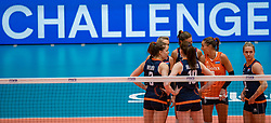 04-08-2019 ITA: FIVB Tokyo Volleyball Qualification 2019 / Netherlands, - Italy Catania<br /> last match pool F in hall Pala Catania between Netherlands - Italy for the Olympic ticket. Italy win 3-0 and take the ticket to the Olympics / Challenge Laura Dijkema #14 of Netherlands, Anne Buijs #11 of Netherlands, Myrthe Schoot #9 of Netherlands, Maret Balkestein-Grothues #6 of Netherlands