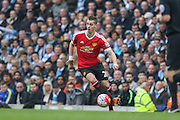 Morgan Schneiderlin of Manchester United during the Barclays Premier League match between Manchester City and Manchester United at the Etihad Stadium, Manchester, England on 20 March 2016. Photo by Phil Duncan.