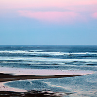 Pink Sky at Dusk at Alnmouth Northumberland England