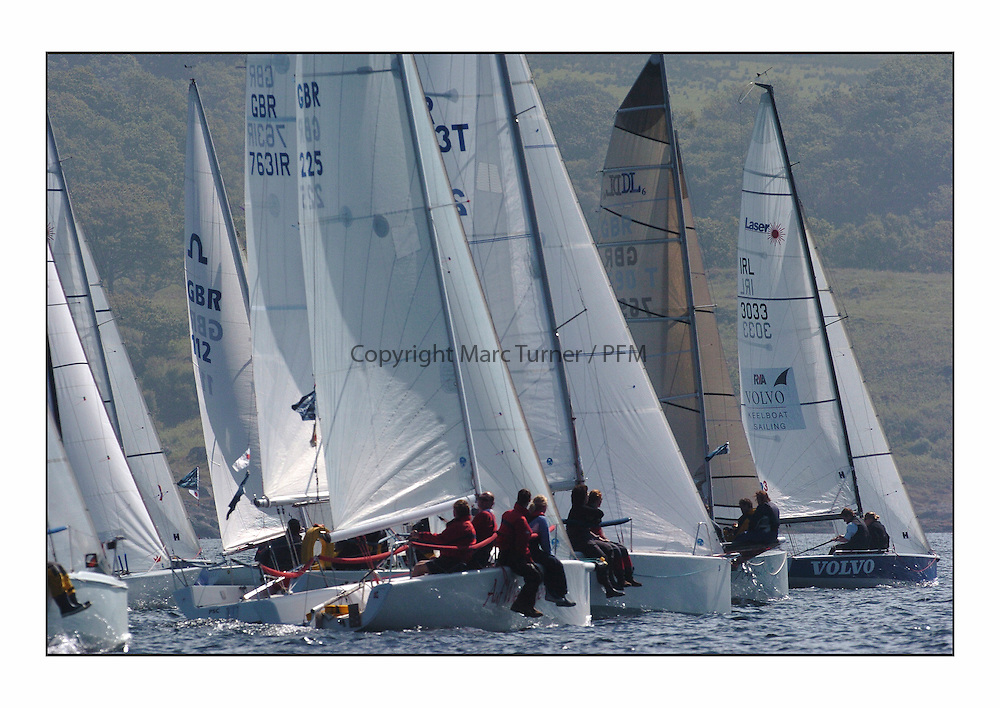 Bell Lawrie Series Tarbert Loch Fyne - Yachting.The third day's inshore races, which transpired to be the last...Sportsboat class start. Include Auf Wiedersehen Pet, GBR225 a Melges 24, Warthog, Karma Killer and SB3 Team Volvo .