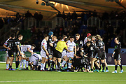 A fall out between both teams near the end of the game during the Heineken Champions Cup match between Glasgow Warriors and Cardiff Blues at Scotstoun Stadium, Glasgow, Scotland on 13 January 2019.