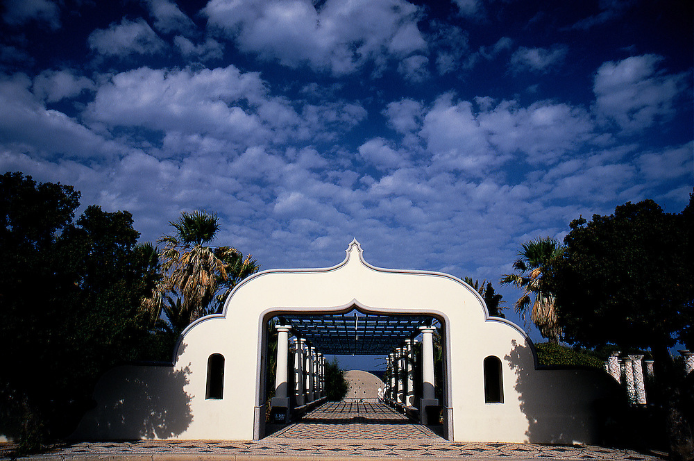 Decorated arch in the beautiful spa complex of Kalithea hot springs near Kalithies village, Rhodes, Dodecanese islands, Greece.